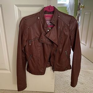 Collection B brown faux leather jacket